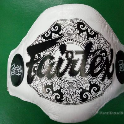 Fairtex reinforced Light-Weight Belly Pad for Muay Thai White BPV2