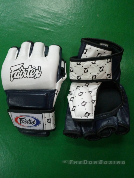 Fairtex ultimate sparring and clinching gloves for MMA and Muay Thai (Blue and white)