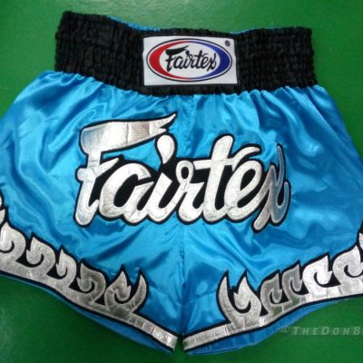 Muay Thai shorts silver, black & light blue)