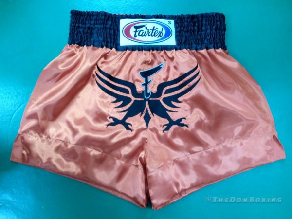 Fairtex muay thai shorts pink black bird spreading wings out.