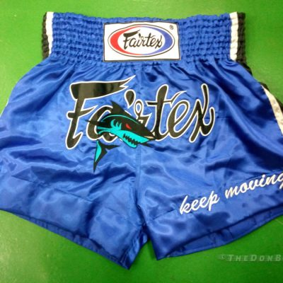 Fairtex Muay Thai Shorts with a shark on it