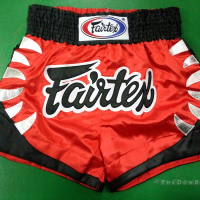 fairtex muay thai shorts red black and white