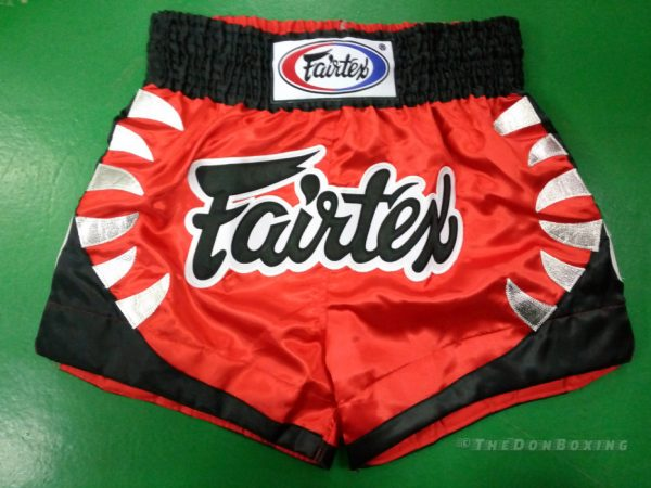 fairtex muay thai shorts red black and white